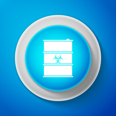 Biological hazard or biohazard barrel icon isolated on blue background. Toxic refuse keg. Radioactive garbage emissions, environmental pollution, danger of ecological disaster. Vector Illustration