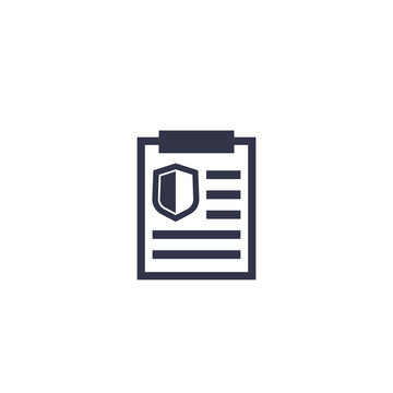 insurance policy icon on white, vector