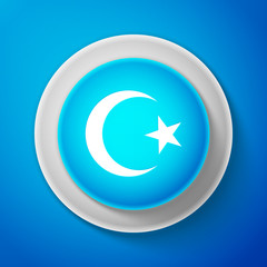 White Star and crescent - symbol of Islam icon isolated on blue background. Religion symbol. Circle blue button with white line. Vector Illustration