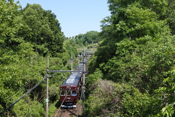 The maroon color  train running in the rural area in Japan.