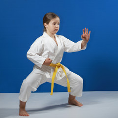 On a white cover an athlete in rack of karate