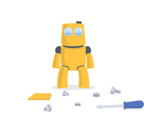 Funny yellow robot standing in front of spare parts and tools. Cartoon character. Flat vector illustration. Isolated on white background.