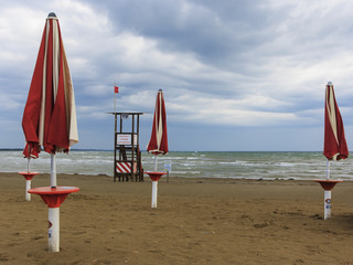 A beach of the Adriatic Sea in Italy in late summer