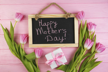 Floral mothers day concept with slate