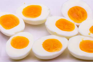 Hard boiled eggs sliced in half