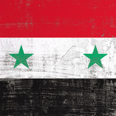 scratched Syria flag
