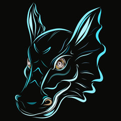 Dragon's head on a black background