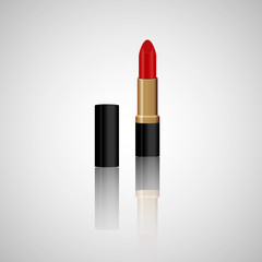 Realistic red lipstick with reflection. Makeup accessory. Fashion cosmetics vector illustration. Design for beauty salons, social media, websites, glamour catalogs, banners, mockups, etc.