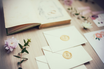 Wedding decor at the wooden table.