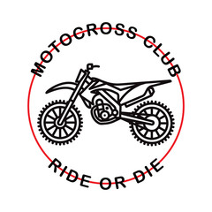 Motocross club. Hipster logotype. Vector. Isolated