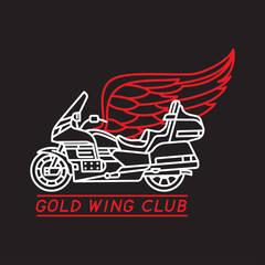 Gold wing club. Motorcycle logotype. Vector. Isolated