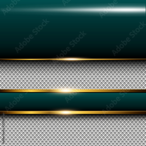 Business background green with gold elements, elegant vector
