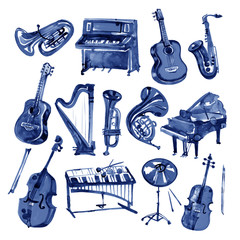 Set of hand draw blue watercolor musical instruments