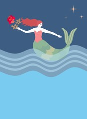 Beautiful red hair mermaid holding a flower swims in sea in night. Vector illustration.