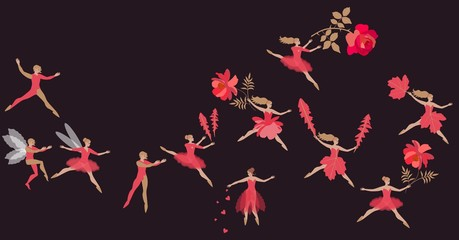 Fantasy dance of beautiful fairies and elves in red costumes. Spring flight of magic characters with flowers. Vector illustration.