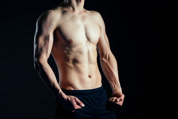torso of young man posing without shirt in the gym