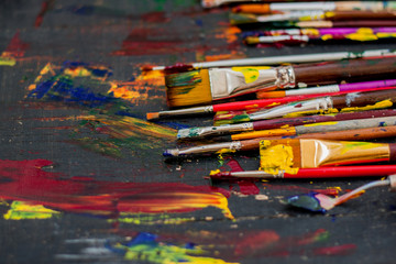 Artist paint brushes background.