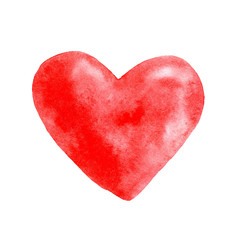Heart painted with watercolor on white background.