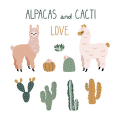 Cute cartoon Alpacas and Cacti Design Elements. Vector clipart.