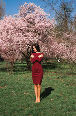 beautiful young brunette with long hair in a park on a spring in the middle of flowering trees in a red dress