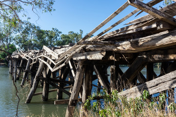 Historic Chinamans Bridge over the Goulburn River near Nagambie in Australia.