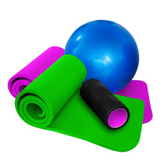 Fitness ball  -  mats  and black roll