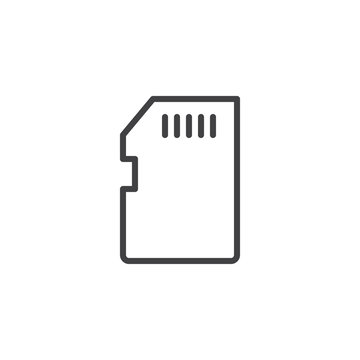 Memory card outline icon. linear style sign for mobile concept and web design. SD card simple line vector icon. Symbol, logo illustration. Pixel perfect vector graphics