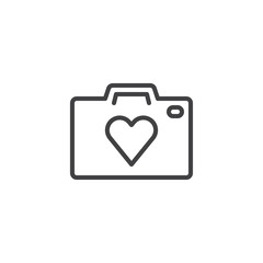 Heart camera outline icon. linear style sign for mobile concept and web design. Photo camera with heart simple line vector icon. Love photo symbol, logo illustration. Vector graphics