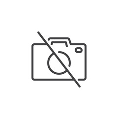 No photo camera outline icon. linear style sign for mobile concept and web design. No photography simple line vector icon. Symbol, logo illustration. Pixel perfect vector graphics