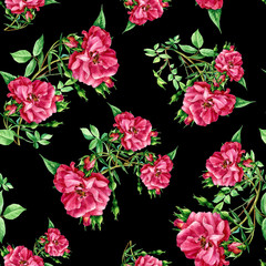 Seamless pattern of roses painted in watercolor.