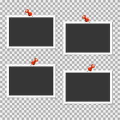 Photo frame with pin on grey background. Vector illustration