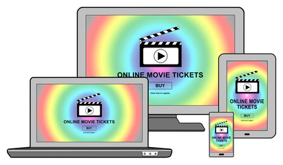 Online movie tickets buying concept on different devices