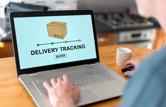 Delivery tracking concept on a laptop