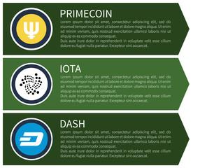 Yellow Primecoin, White Iota and Blue Dash Set