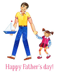 Father's day hand drawn watercolor illustration with father and daughter walking together. Isolated on white background