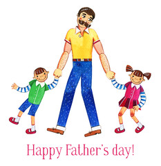 Father's day hand drawn watercolor illustration with father and two kids walking together. Isolated on white background