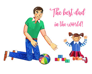 Father's day hand drawn watercolor illustration with father playing with daughter. Isolated on white background. Best dad in the world greeting