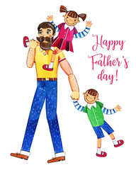 Father's day hand drawn watercolor illustration with father walking and two kids. Girl sitting on shoulders, boy walking. Isolated on white background