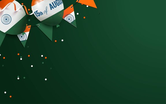 15 August. India independence day celebration background with balloons and bunting flags. Festive frame flat lay. Vector illustration