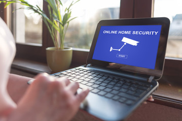Online home security concept on a laptop screen