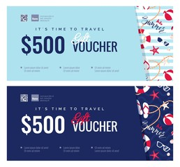 Set of summer gift vouches for kids and baby goods .  Gift certificate for a holiday.  Vector flat illustration
