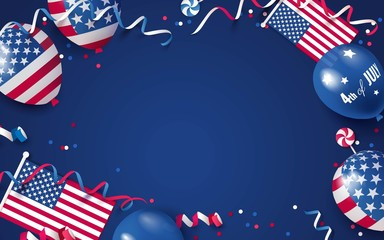 4th of July. USA independence day celebration background with balloons, flag and confetti. Festive frame flat lay. Vector illustration