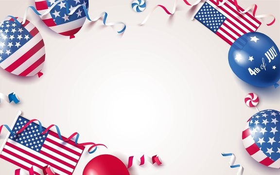 4th of July. USA independence day celebration background with balloons, flag and confetti. Festive border flat lay. Vector illustration