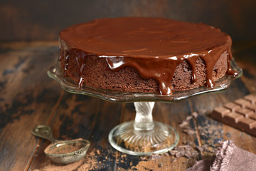 Chocolate cake (brownie),rustic style.