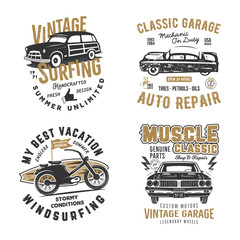 Vintage hand drawn tee prints set. Surf print design, old garage, car service, auto repair emblems patches. Summer t shirt print concepts isolated on white. Stock labels. Letterpress effect