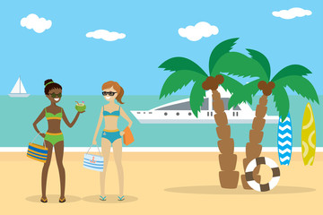 Cartoon caucasian and african american girls in swimsuits on the beach