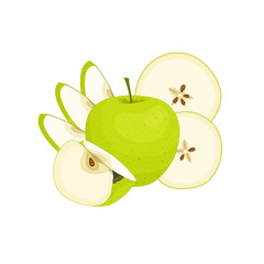 Still-life with an apple. Vector illustration. Composition of apples isolated on white background.