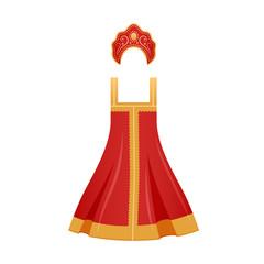 Traditional Russian national clothes, women's elegant dress and decorated kokoshnik.
