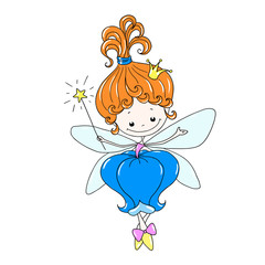 Cute cartoon character fairy. Flower fairy with a magic wand. Fairy in a floral dress. Mythical creature with wings. Vector isolated, hand drawing.