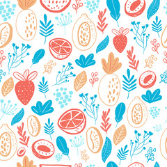 Cartoon doodle Seamless pattern background with fruits on white. Vector doodle strawberry, floral elements